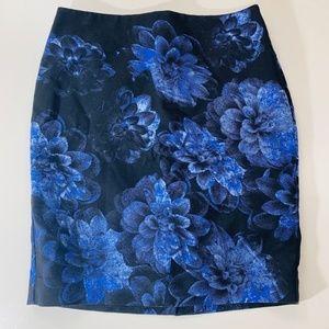 Ann Taylor Blue Floral Pencil Skirt 4P